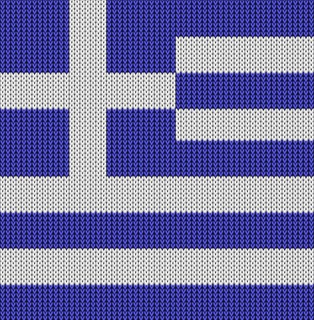 knitted: Knitted flag of Greece. Background vector illustration EPS 10