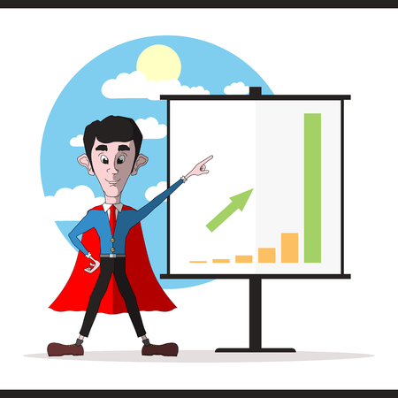 cloak: Successful businessman in a red cloak standing beside a information board and pointing at increase in income. Vector illustration
