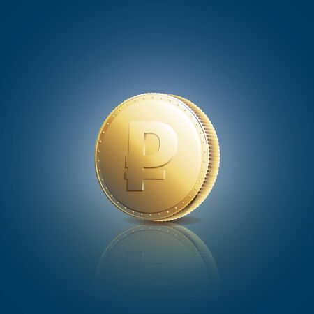 rouble: Gold coin with ruble sign on blue background. Vector illustration