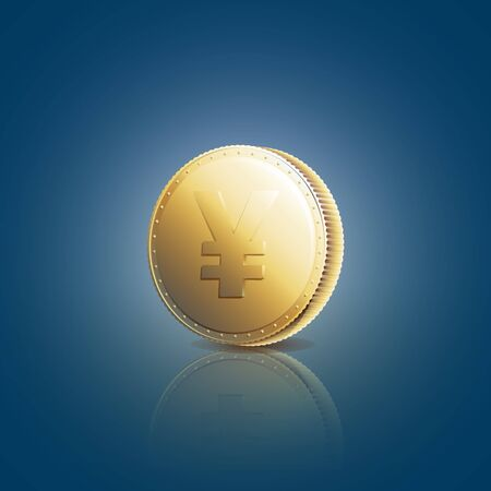 yen sign: Gold coin with yen sign on blue background. Vector illustration 10 EPS Illustration