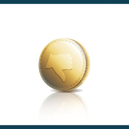 Gold coin with Dislike symbol. Thumb down on gold coin. Vector illustration