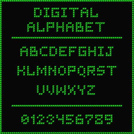 roman alphabet: Digital alphabet. Font of the green dots - roman capital letters. Vector illustration 10 EPS Illustration