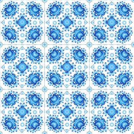white tile: Blue floral ornament on white tile.