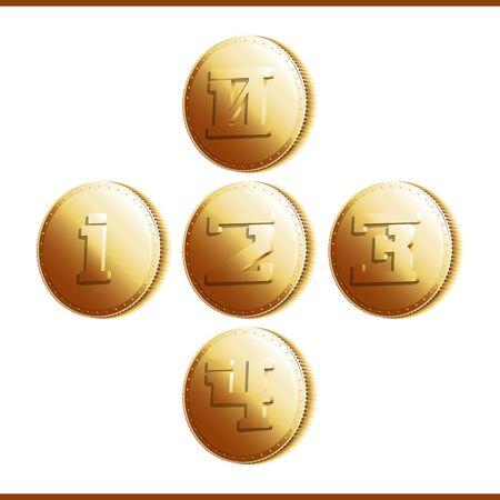 numerals: Golden coins with numerals illustration