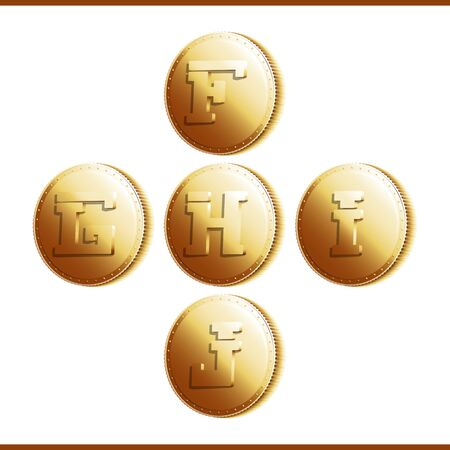 stamping: Golden coins with roman letters isolated on white background - part 2 (F - J). Illustration