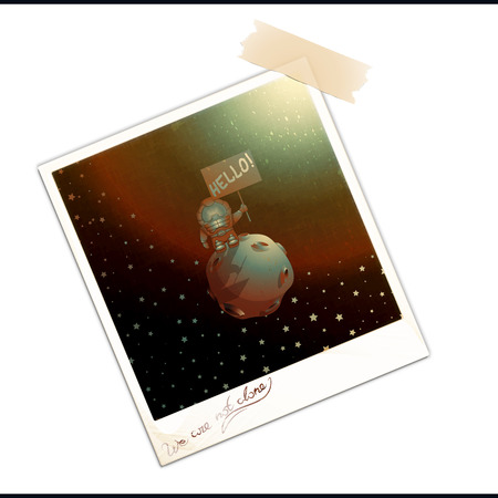ufology: Photo frame with picture isolated over white background. Old photo with first extraterrestrial contact. Vintage photograph with the phrase We Are Not Alone. Vector illustration Illustration