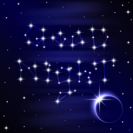 noche y luna: Cartel de deseo buena noche en el fondo del espacio. ilustración vectorial 10