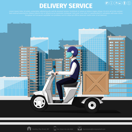 motor scooter: Deliveryman rides on a motor scooter with delivery box against background of the cityscape. Flat design. Vector illustration 10 without transparency