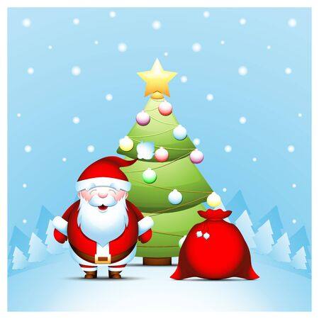 Santa Claus with gifts bag near Christmas tree  of winter landscape. Illustration