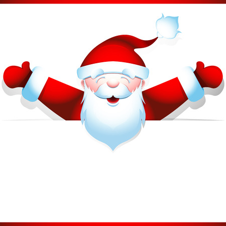joyous: Joyous Santa Claus peeping from behind blank banner, hands wide apart. Poster for the big Christmas sales. Vector illustration 10 EPS