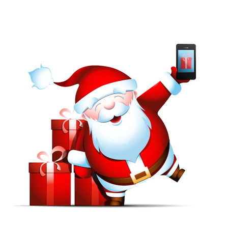 Santa Claus holds smartphone in his hand. Phone with gift box on screen. Ordering presents. Isolated vector illustration