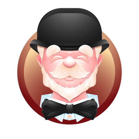 Closeup portrait of an cheerful elderly gentleman in a bowler hat and bow tie. Senior man cartoon character. Vector illustration EPS 10 Illustration