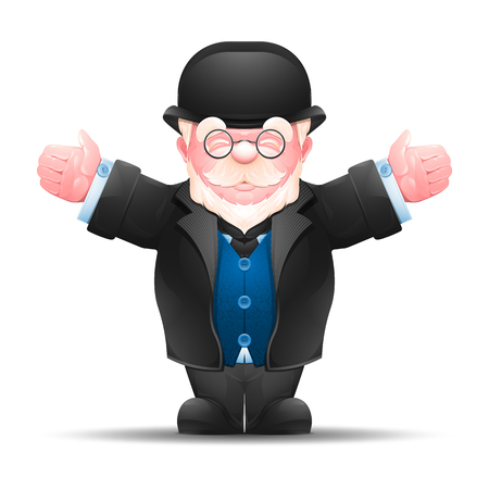 Senior man stretched out his hands to both sides. Full length portrait of elderly businessman dressed in formal suit isolated on white. Vector illustration 10 EPS