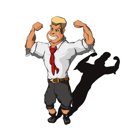 Brawny man, wearing a suit with a rolled-up trouser legs and sleeves, demonstrate his biceps Illustration