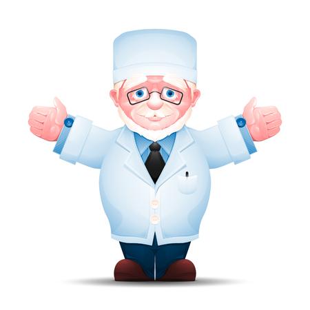 Oudere medische werker strekte zijn handen uit aan beide kanten. Full-length portret van senior man in witte lab coat geïsoleerd op een witte achtergrond.
