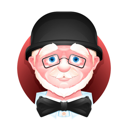 Close up portrait of a charming aged man in a bowler hat, bow tie and glasses. Illustration