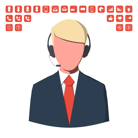 Customer service operator with business icon set.