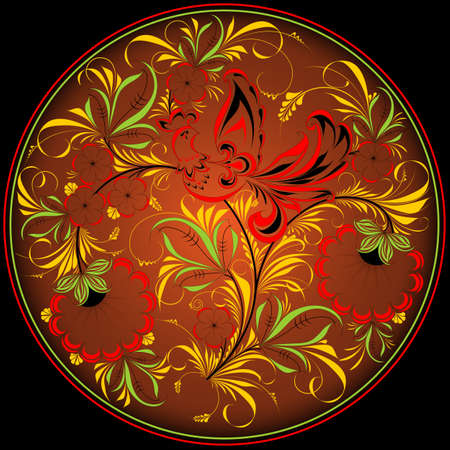 Floral pattern in a circle. Khokhloma painting.