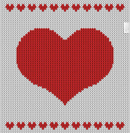 Valentines day knitted pattern. 100 pure love. Stock Photo