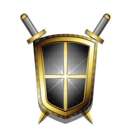 Golden shield and two crossed swords on white background. Stock Photo