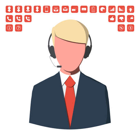 switchboard operator: Customer service operator with business icon set.