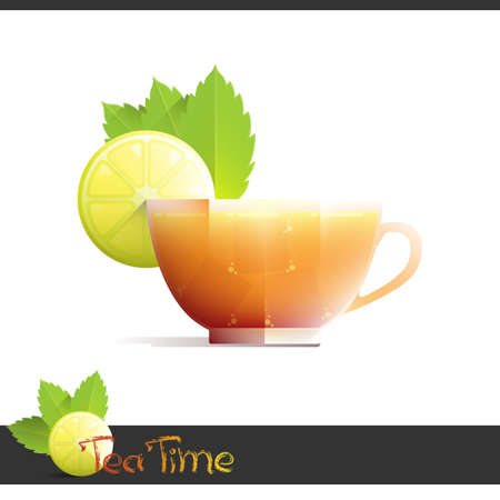 Cup of iced tea with lemon slice on white background.