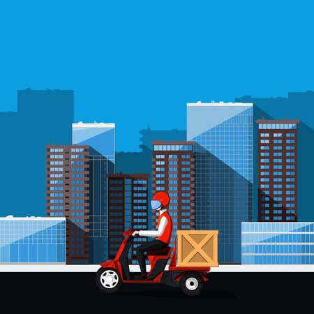Delivery man on motor scooter delivers order. Cargo transportation illustration.
