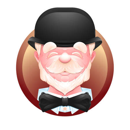 englishman: Closeup portrait of an cheerful elderly gentleman in a bowler hat and bow tie. Senior man cartoon character.