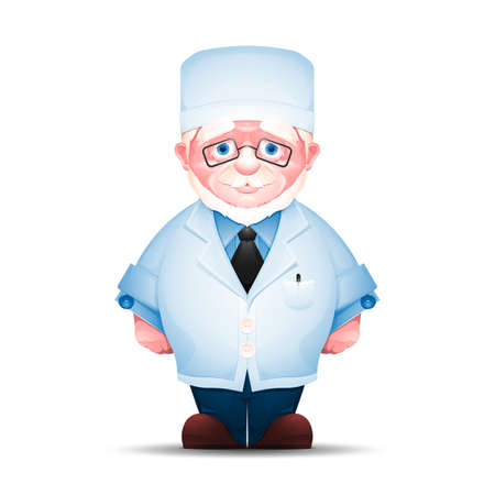 Full-length portrait of senior man in white lab coat. Charming elderly medical worker isolated on white background. Stock Photo