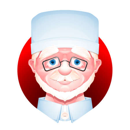 Closeup portrait of a medical worker isolated on white background. Senior man cartoon character. Stock Photo