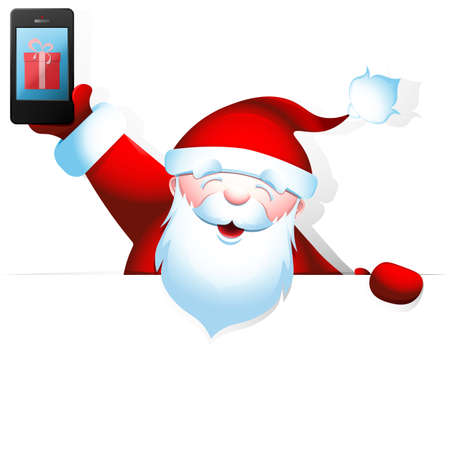 Cheerful Santa Claus holding a in one hand and a blank banner with space for your text in another.