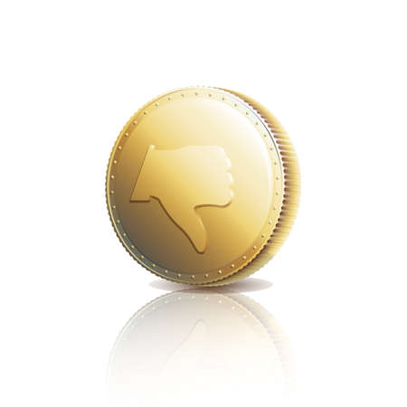 Gold coin with Dislike symbol. Thumb down on gold coin.