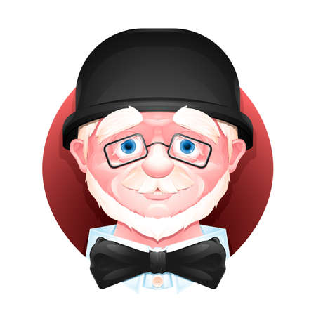 Close up portrait of a charming aged man in a bowler hat, bow tie and glasses. Stock Photo