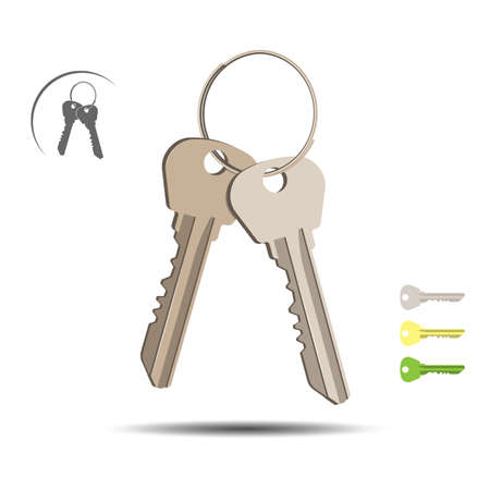 Bunch of keys isolated over white background. Stock Photo