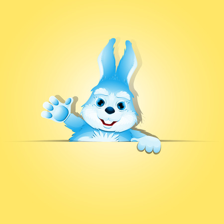 Cute rabbit raised his paw up in greeting. Blue funny bunny holds blank advertising banner with space for your text and design.