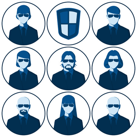 userpic: Men and women of the security agents occupation. Set of flat vector avatars for the security agency. Male and female silhouettes of bodyguard people for user profile picture.