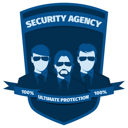 watchman: Silhouettes of people from security agency against the background of shield. Emblem for the profession of bodyguard. Flat icon vector illustration.