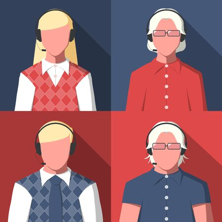 dispatcher: Male and female silhouettes of call center operators for user profile picture. Avatars of men and women with headset. Vector icon in flat style.