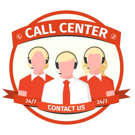 Emblem call center - men and women with headset. Operators of the hotline in flat style. Icon with male and female silhouettes of support workers. Vector illustration.
