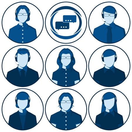 Représentant du service clientèle - ensemble d'avatars vector plate des hommes et des femmes avec casque. Silhouettes masculines et féminines des opérateurs de centre d'appel pour l'image de profil de l'utilisateur. Vecteurs