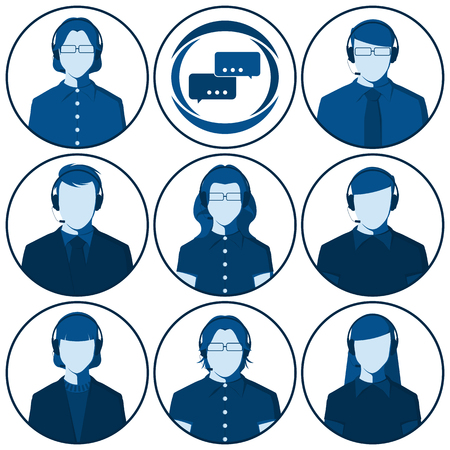 Customer service representative - set of flat vector avatars of men and women with headset. Male and female silhouettes of call center operators for user profile picture. Illustration