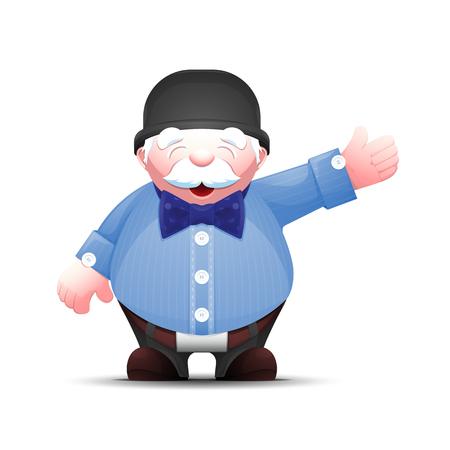 Positive senior man points hand to the side. Old businessman stands and points to something. Elegant cartoon gentleman in bowler hat and bow tie. Vector illustration isolated on white. Illustration