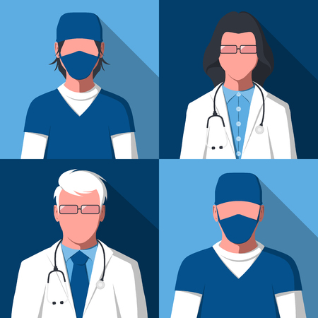 Male and female silhouettes of medical workers for user profile picture. Avatars of men and women in health care. Hospital staff: doctors and nurses in flat style. Vector illustration. Illusztráció