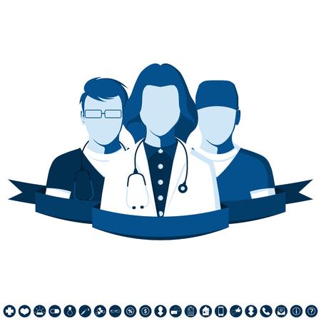 chirurgo: Emblema in stile piatto con un'immagine di un gruppo di medici. Squadra medica di ambulanza. Personale clinico isolato su sfondo bianco.