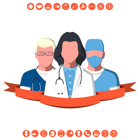 Male and female silhouettes of hospital staff. Medical team of ambulance isolated on white background. First aid flat vector illustration.