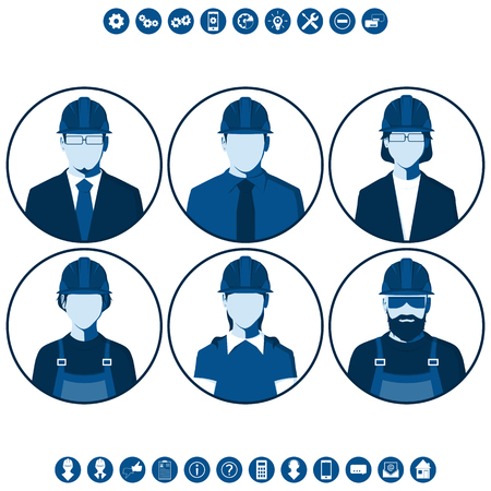 Flat silhouettes of construction workers. Round icons with male and female portraits of engineers. Set of vector avatars.