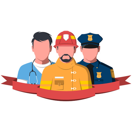 Silhouettes of rescue workers. People of emergency service - paramedic, firefighter and police man. Rescue team flat vector illustration.