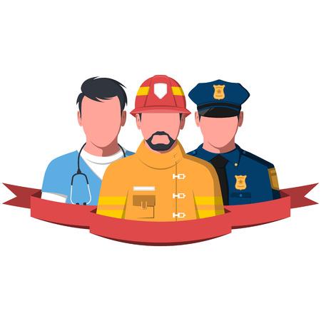 Siluetas de los trabajadores de rescate. Gente de servicio de emergencia: paramédico, bombero y policía. Ilustración de vector plano de equipo de rescate.