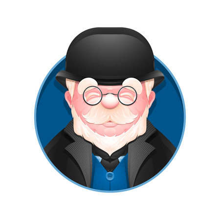 Avatar icon. Portrait of an adult business man in a bowler hat. Cartoon englishman. Vector illustration.