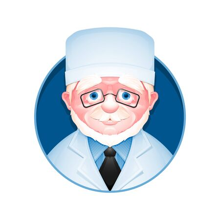 Medical avatar. Profile icon of adult doctor in eyeglasses. Male portrait. Vector illustration.